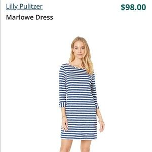 LILLY PULITZER merlowe striped dress 3/4 sleeves